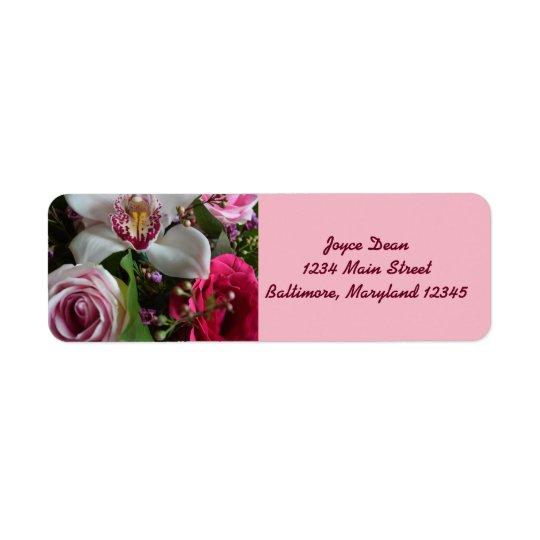 Etiquetas florales y rosadas del remite etiqueta de remite