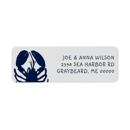 Etiquetas grises del remite de la langosta azul etiqueta de remitente