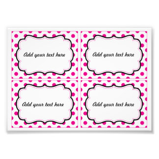 Etiquetas imprimibles del lunar rosado foto