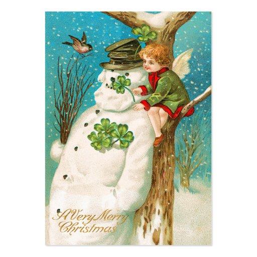 Etiquetas irlandesas del nombre del muñeco de niev tarjetas de visita