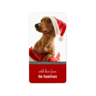 Etiquetas lindas del navidad del perrito para los etiqueta de dirección