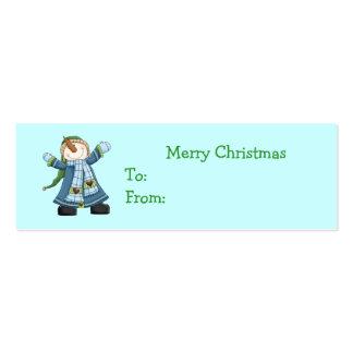 Etiquetas lindas del regalo del navidad del muñeco plantillas de tarjeta de negocio
