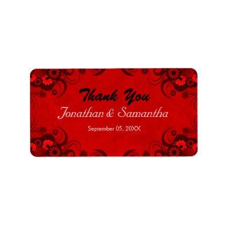 Etiquetas medias góticas rojo oscuro florales del etiqueta de dirección