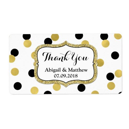 Etiquetas negras blancas del boda del confeti del etiqueta de envío