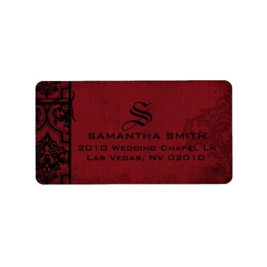 Etiquetas negras rojas góticas del boda del etiquetas de dirección