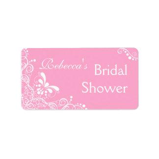 Etiquetas nupciales rosadas de la ducha etiqueta de dirección