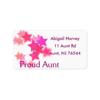 Etiquetas orgullosas de la tía dirección etiquetas de dirección