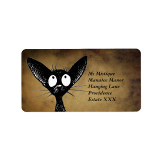 Etiquetas orientales divertidas del gato negro