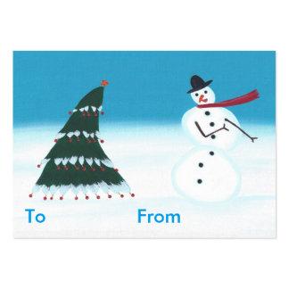 Etiquetas oscilantes del muñeco de nieve y del tarjetas de visita grandes
