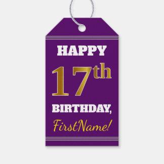 Etiquetas Para Regalos 17mo cumpleaños del oro púrpura, falso + Nombre de