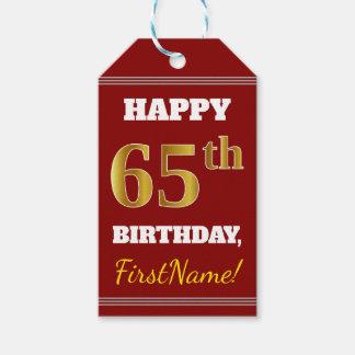 Etiquetas Para Regalos 65.o cumpleaños del oro rojo, falso + Nombre de