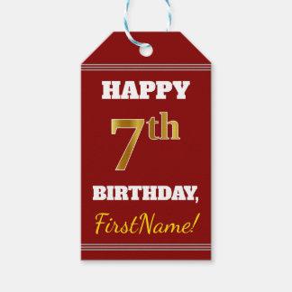 Etiquetas Para Regalos 7mo cumpleaños del oro rojo, falso + Nombre de