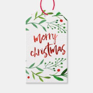 Etiquetas Para Regalos Acebo del navidad de la acuarela