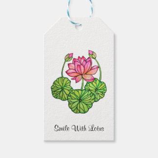 Etiquetas Para Regalos Acuarela Lotus rosado con los brotes y las hojas