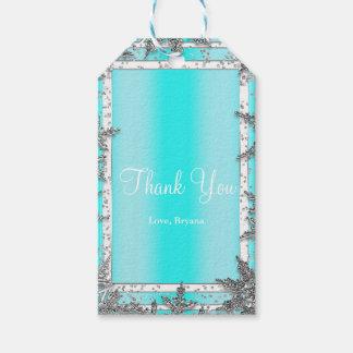 Etiquetas Para Regalos Aguamarina azul y fiesta elegante de los copos de