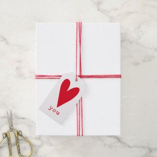 Etiquetas Para Regalos Ámele el día de San Valentín rojo del corazón del
