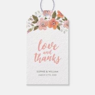 Etiquetas Para Regalos Amor y gracias florales delicados del melocotón