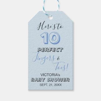 """Etiquetas Para Regalos """"Aquí está a 10 fiestas de bienvenida al bebé"""