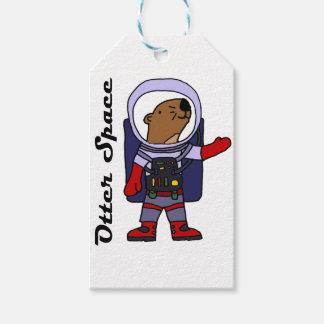 Etiquetas Para Regalos Astronauta divertido de la nutria de mar en dibujo