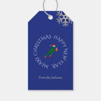 Etiquetas Para Regalos Azul de encargo del texto del atleta del navidad