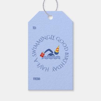 Etiquetas Para Regalos Azul de encargo del texto del nadador del