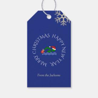 Etiquetas Para Regalos Azul de encargo del texto del nadador del navidad