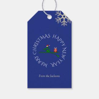Etiquetas Para Regalos Azul de encargo del texto del rower del navidad