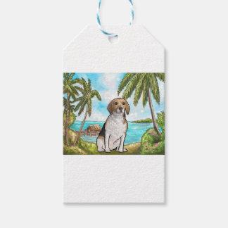 Etiquetas Para Regalos Beagle en la playa tropical de las vacaciones
