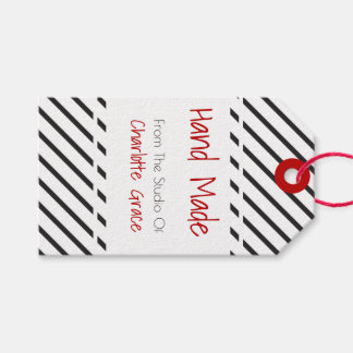 Etiquetas Para Regalos Blanco negro hecho a mano rayado con la bandera
