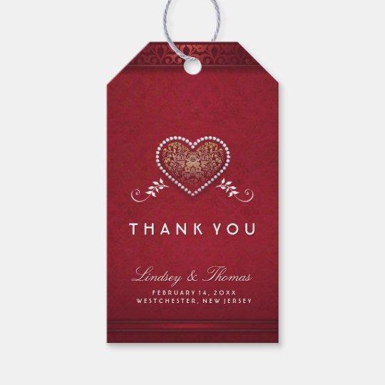 Etiquetas Personalizadas Boda Favor gracias Corazón Etiquetas de oro viejo y negro de la cinta