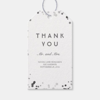 Etiquetas Para Regalos Boda elegante del confeti de plata y blanco