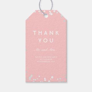 Etiquetas Para Regalos Boda elegante del confeti de plata y rosado