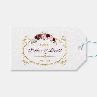 Etiquetas Para Regalos Boda floral elegante de la caída de Borgoña
