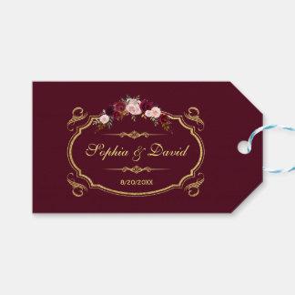 Etiquetas Para Regalos Boda floral romántico de la caída de Borgoña