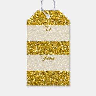 Etiquetas Para Regalos Brillo del oro de las Felices Navidad