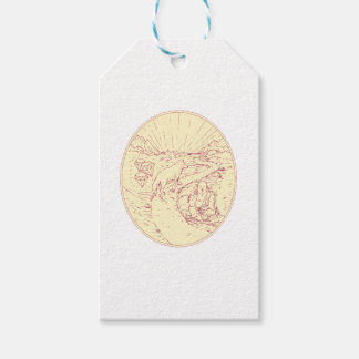 Etiquetas Para Regalos Buda y lobo en el dibujo de los diamantes del