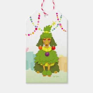 Etiquetas Para Regalos Caniche divertido del árbol de navidad