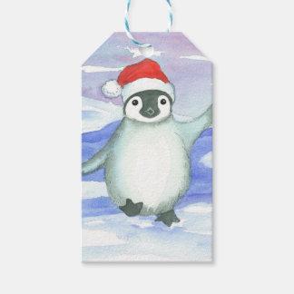 Etiquetas Para Regalos Casquillo de Santa del pingüino del bebé