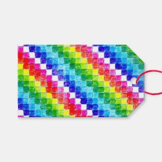 Etiquetas Para Regalos Coloreado en cuadrados del papel cuadriculado
