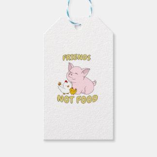 Etiquetas Para Regalos Comida de los amigos no - cerdo y pollo lindos