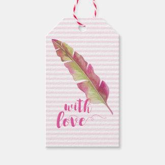 Etiquetas Para Regalos con el amor Boho rosado y verde del   empluma