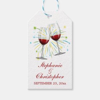 Etiquetas Para Regalos Copas de vino rojas de Borgoña que casan el lagar