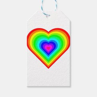 Etiquetas Para Regalos Corazón del arco iris