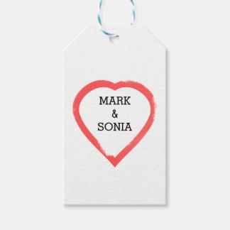 Etiquetas Para Regalos Corazón minimalista del boda de la acuarela