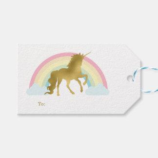 Etiquetas Para Regalos Cumpleaños del unicornio del oro