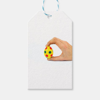 Etiquetas Para Regalos Dé el huevo de Pascua amarillo pintado tenencia