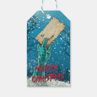 Etiquetas Para Regalos Día de fiesta de las Felices Navidad del zombi