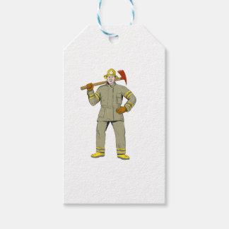 Etiquetas Para Regalos Dibujo americano del hacha del fuego del bombero