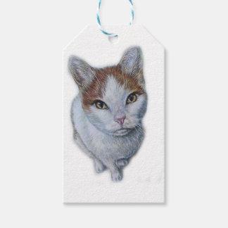 Etiquetas Para Regalos Dibujo del blanco y del naranja del gato