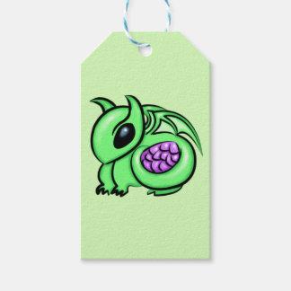 Etiquetas Para Regalos Dragón verde, huevo púrpura del dragón